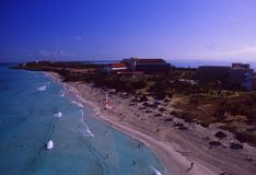 Kuba: Airshot od Varadero wyspy obrazy stock