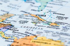 Kuba auf einer Karte Stockfotos