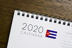 Kuba flaga na 2020 kalendarzu fotografia royalty free