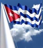 KUBA-FLAGGEN-SEIDIGES WELLENARTIG BEWEGENDES ROT stockbild