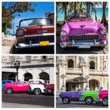 Kuba-Fotocollage von den amerikanischen bunten Weinleseautos Stockfoto