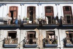 Kuba, Havana, alte Balkone Lizenzfreies Stockfoto