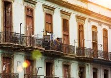 kuba havana alte Balkone in der alten Stadt Lizenzfreies Stockbild