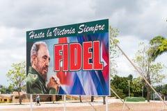 KUBA, HAWAŃSKI - MAJ 5, 2017: Miasto reklamowy sztandar Fidel Castro Odbitkowa przestrzeń dla teksta Obrazy Stock