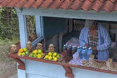 KUBA - Januari 03, 2018: säljaren säljer souvenir och mat in Arkivbilder