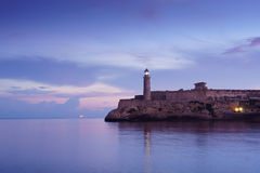 Kuba karibiskt hav, La Habana, havana, morro, fyr Royaltyfri Fotografi