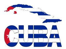 Kuba mapy teksta i flaga ilustracja ilustracja wektor