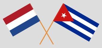 Kuba och Nederländerna De kuban- och Netherlandish flaggorna Officiella f?rger Korrigera proportionen vektor stock illustrationer