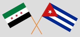 Kuba och provisoriska regeringen av Syrien Kuban- och föreningflaggorna Officiella f?rger Korrigera proportionen vektor royaltyfri illustrationer