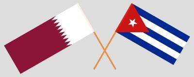 Kuba och Qatar De kuban- och Qatari flaggorna Officiella f?rger Korrigera proportionen vektor stock illustrationer
