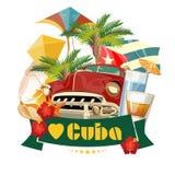 Kuba podróży kolorowy karciany pojęcie Kocham Kuba ilustracyjny lelui czerwieni stylu rocznik Wektorowa ilustracja z Kubańską kul ilustracji