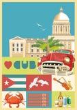 Kuba podróży kolorowy karciany pojęcie z kubańczyk flaga ilustracyjny lelui czerwieni stylu rocznik Wektorowa ilustracja z Kubańs ilustracja wektor