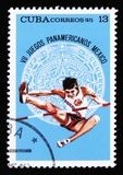 Kuba pokazuje bluzę, poświęcać 7th amerykańskie młodość gry w Meksyk, około 1975 Obraz Royalty Free