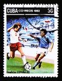 Kuba pokazuje graczów futbolu, serie poświęcać Futbolowy mistrzostwo w Hiszpania 1972 około 1972, Zdjęcie Stock