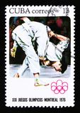 Kuba pokazuje zapaśników, serie poświęcać Montreal gry 1976, około 1976 Obraz Royalty Free