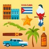 Kuba punkty zwrotni i kulturalni symbole royalty ilustracja