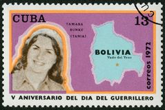 KUBA - 1972: Shows Haydee Tamara Bunke Bider Tania der Guerilla 1937-1967, Karte von Bolivien, Vado Del Yeso, am 8. Oktober 1967 Stockbild