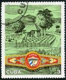 KUBA - 1970: Shows Plantage, Eden-Zigarrenband, kubanische Zigarren-Industrie Lizenzfreies Stockfoto
