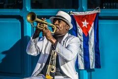 Kubański portret od Tubowego gracza na ulicie Fotografia Royalty Free