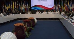 Kubański prezydent Raul Castro przy otwarciem 22nd spotkanie skojarzenie Karaibskich stanów ministerialny rada Fotografia Royalty Free
