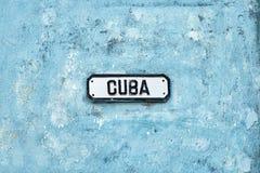 Kuba streetsign przy Hawańskim Fotografia Royalty Free
