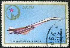 KUBA - 1976: supersonisk stråle Tu-144, serieEXPO för showTupolev USSR 1976 Royaltyfri Fotografi