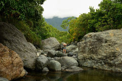 Kuba turist- slinga in i Pico Turquino blast Arkivfoton