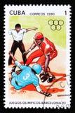 Kuba zeigt Baseball-Spieler, die Reihe, die den 25. Sommer Olympischen Spielen in Barcelona 1992, circa 1990 gewidmet wird Lizenzfreies Stockfoto