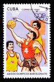 Kuba zeigt Basketball-Spieler, die Reihe, die den 25. Sommer Olympischen Spielen in Barcelona 1992, circa 1990 gewidmet wird Lizenzfreies Stockbild