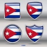 Kubaflagga i samling för 4 former med den snabba banan Royaltyfri Foto