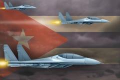 Kubaflygvapen slår begrepp Luftnivåer anfaller på Kubaflaggabakgrund illustration 3d stock illustrationer
