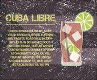 KubaLibre coctail med textbeskrivning retro royaltyfri illustrationer