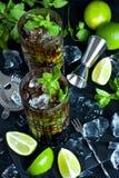 Kubalibrecoctail med rom, cola och limefrukt, begrepp för ferieparti arkivbild