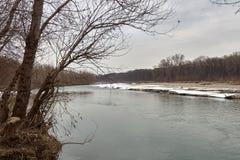 Kuban rzeka w zimie Obrazy Royalty Free