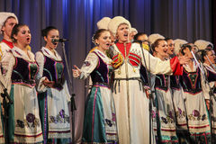 Kuban songs. Folk ensemble Kazachya Volnitsa in Rostov-on-Don, Russia. October 2014. Beautiful ethnic dance and patriotic songs Royalty Free Stock Photos