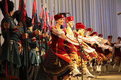 Kuban songs. Folk ensemble Kazachya Volnitsa in Rostov-on-Don, Russia. October 2014. Beautiful ethnic dance and patriotic songs Royalty Free Stock Images