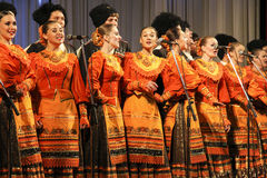 Kuban songs. Folk ensemble Kazachya Volnitsa in Rostov-on-Don, Russia. October 2014. Beautiful ethnic dance and patriotic songs Stock Photos