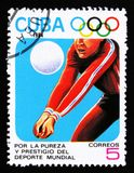 Kuban visar volleybollspelaren, 23. sommarOS, Los Anbgeles 1984, USA, circa 1984 Arkivbild