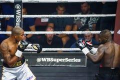 Cuban boxer Yunier Dorticos L and American boxer Andrew Tabiti R during fight boxer Yunier Dorticos L, during fight