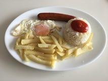 Kubanischer Reis mit Wurst Stockfoto