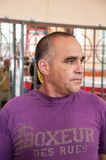Kubanischer Verpackentrainer Humberto Horta Dominguez und seine Autogramme stockbild