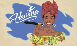 Kubansk kvinnaframsida tecknad filmvektorillustration för musikaffisch vektor illustrationer