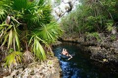 Kubanska cenotes - Cueva de los Peces nära den Giron stranden arkivbilder