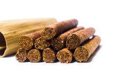 Kubanska cigarrer som isoleras på vit Arkivfoto