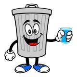 Kubeł Na Śmieci maskotka z szkłem woda ilustracji