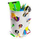 Kubeł na śmieci z ołówkami Zdjęcie Stock