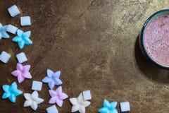 Kubek kakao i cukierki zdjęcie stock