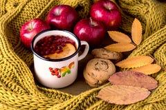Kubek lub filiżanka Gorąca Jagodowa cytryny herbata Z koloru żółtego szalika jesieni liści klonowych tła Ciepłej Trykotowej Drewn fotografia stock