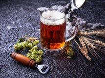 Kubek piwo, chmiel i słód, obraz royalty free