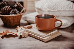 Kubek z gorącym napojem, stonowanym wizerunkiem pojęciem coziness i jesień nastrojem, Fotografia Royalty Free